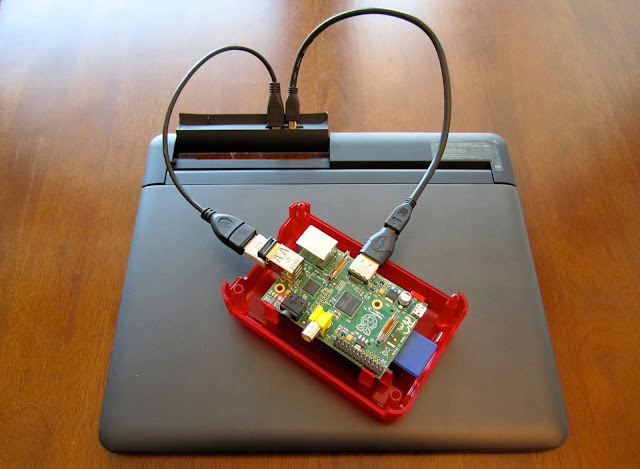 The completed setup of the raspberry pi laptop
