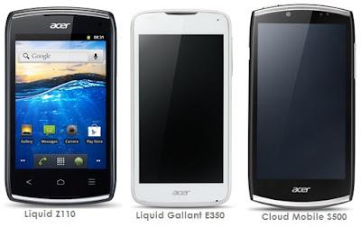 harga hp android acer terbaru, fitur dan gambar ponsel acer seri Liquid Z110, Liquid Gallant E350, dan Cloud Mobile S500
