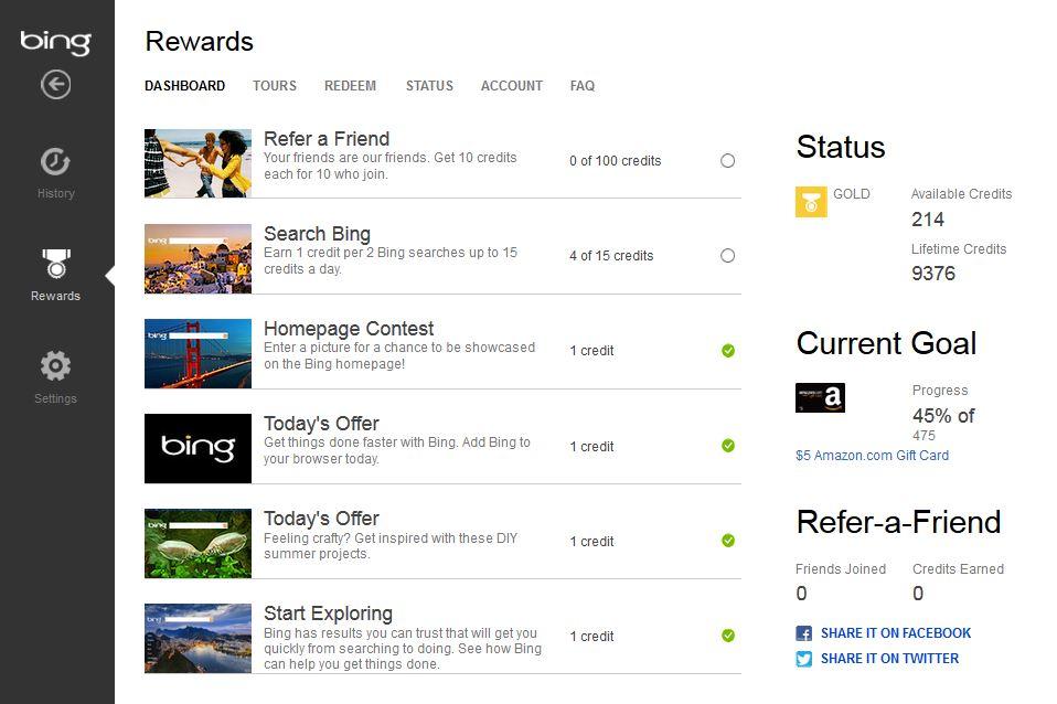 Bing Rewards Dashboard | Caroldoey