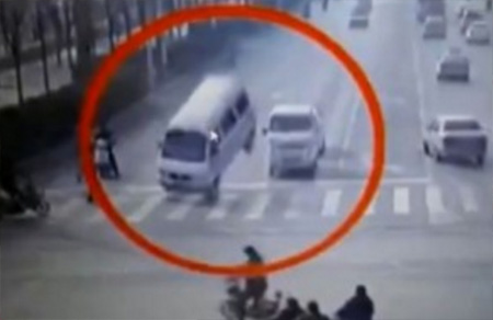 Bizarre accident with vehicle tail left in air by unknown force
