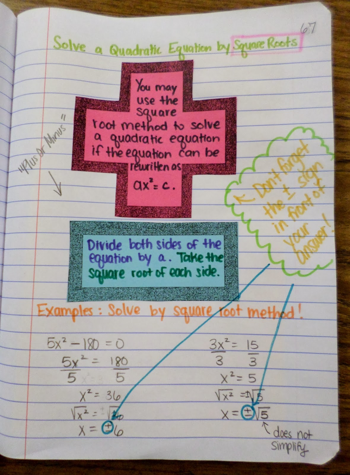 Math love solving quadratics by square roots solving a quadratic equation by square roots interactive notebook page robcynllc Images