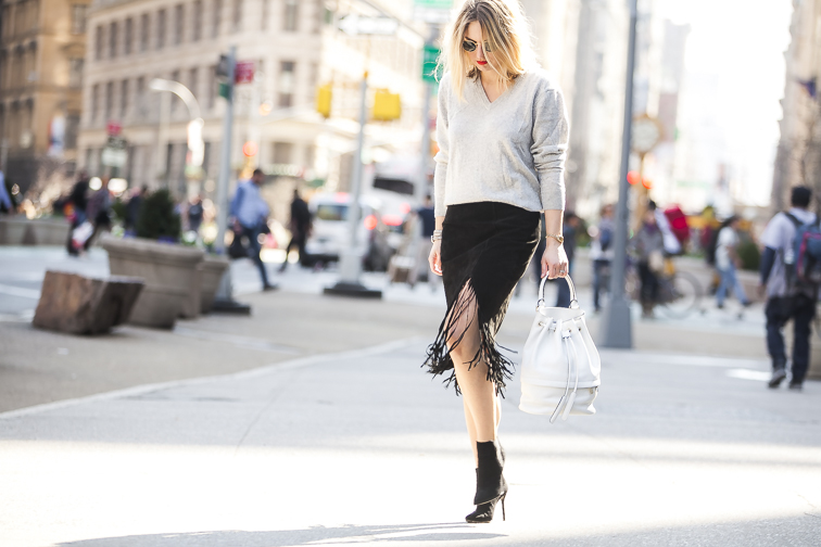 Fashion Over Reason in NYC, suede fringe skirt, Stuart Weitzman pointed toe suede booties, Luana Italy bucket bag