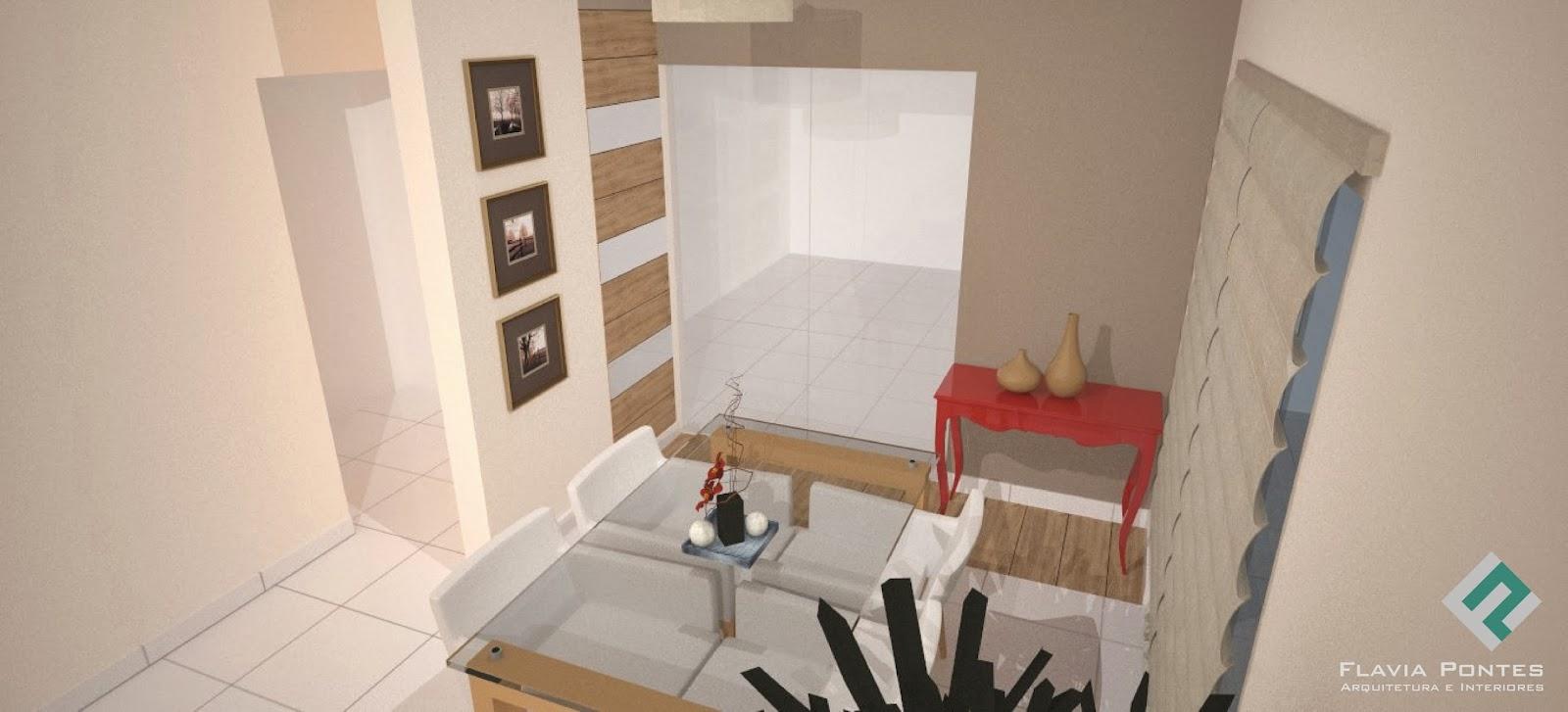 Sala Jantar Estar Pequena ~ Detalhe no piso uma faixa de porcelanato que imita madeira Esta