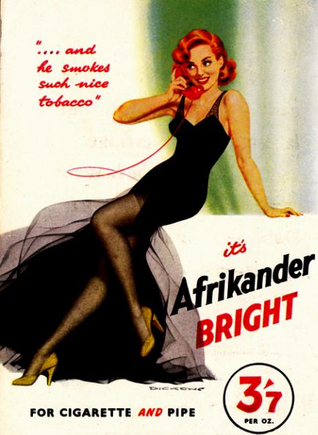 Propaganda do Cigarro Afrikander nos anos 60: elegância no modo de promover os cigarros.