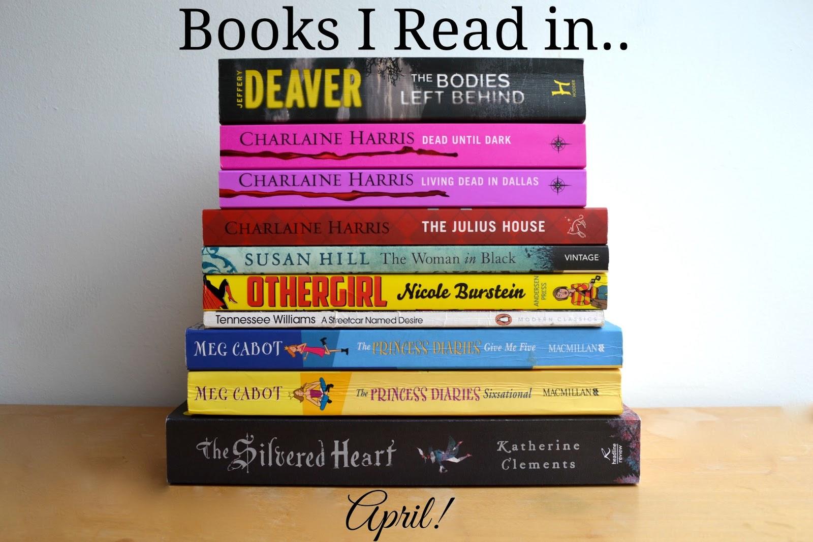 Book pile Jeffery Deaver Charlaine Harris Susan Hill Tennessee Williams Meg Cabot