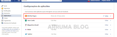 Print: Excluindo aplicativo de feed no facebook