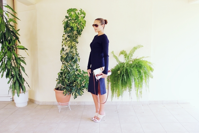 Sleek Navy outfit:navy skirt,navy sweater.Teget outfit,teget suknja,teget dzemper.Sasch navy pencil skirt.Lana Merino navy sweater.Alexander Krist heels.Sundried Aire Tortoise sunglasses.Best fall looks.