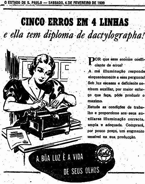 Propaganda da Light em 1939 para promoção da luz artificial em ambientes fechados.