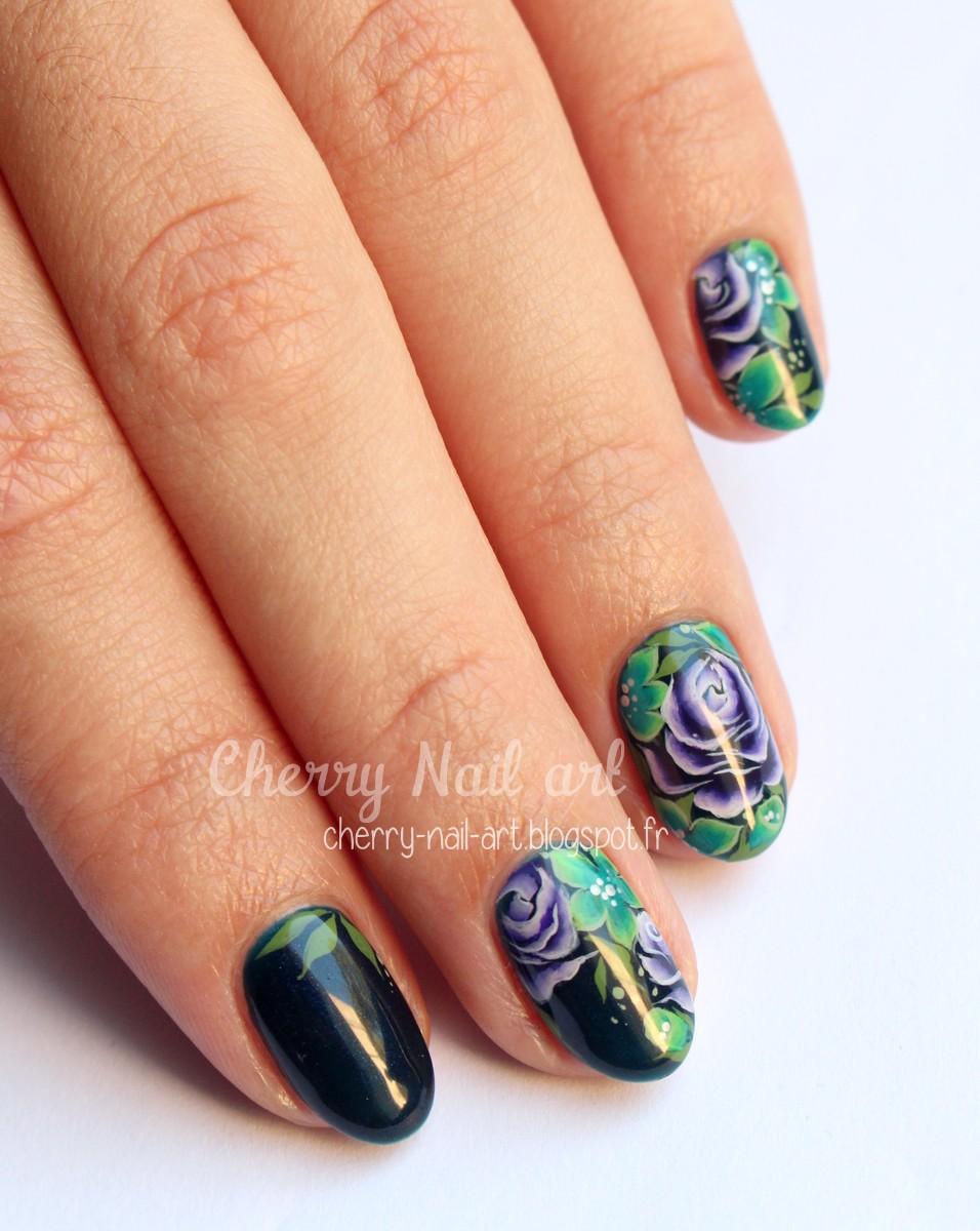 nail art one stroke fleurs jungle