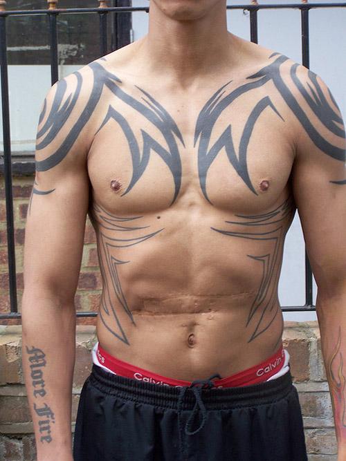 Body tattoo design chest tattoo ideas for men for Tribal body tattoo