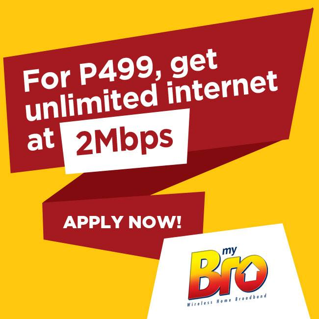 DISCOUNT: 50% Off Get Unlimited Internet myBro Plan 999 at 2Mbps pay