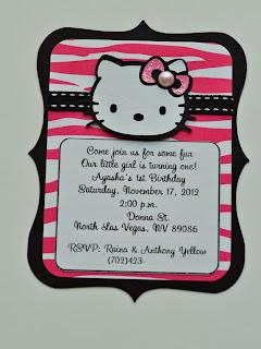 hello kitty birthday party zebra invitations