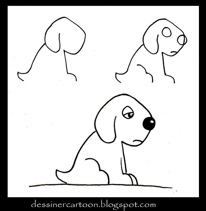 Comment dessiner 1 chien - Dessin chien facile ...