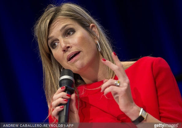 Queen Maxima of the Netherlands speaks during a meeting for 'Universal Financial Access 2020' at the IMF/WB Spring Meetings in Washington, DC