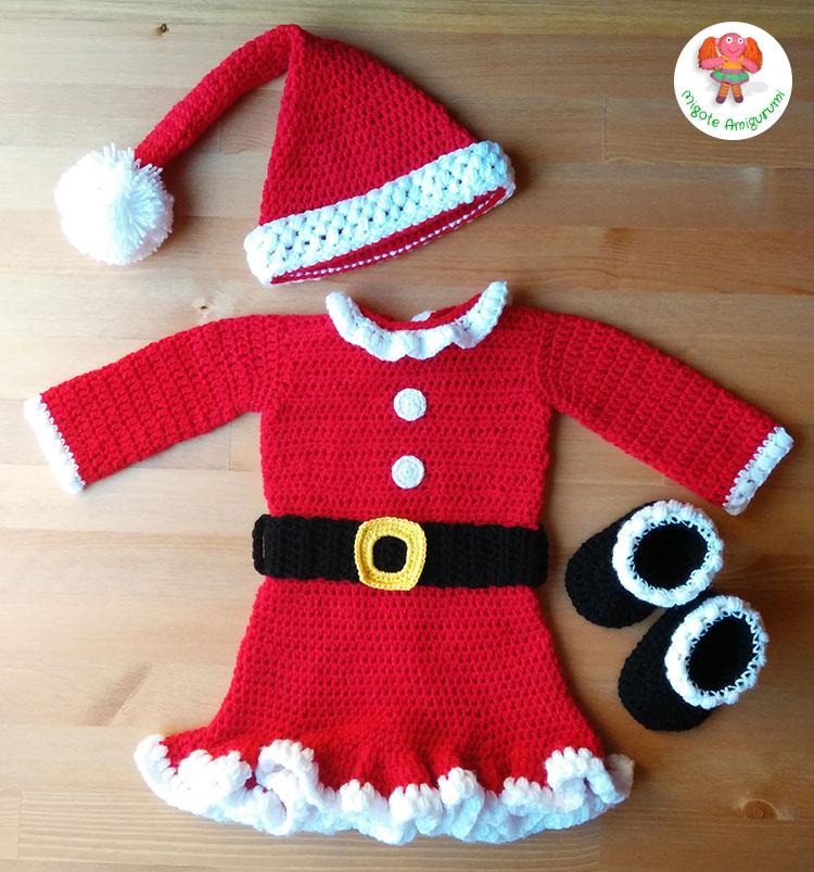 Disfraz de Mama Noel tejido en ganchillo