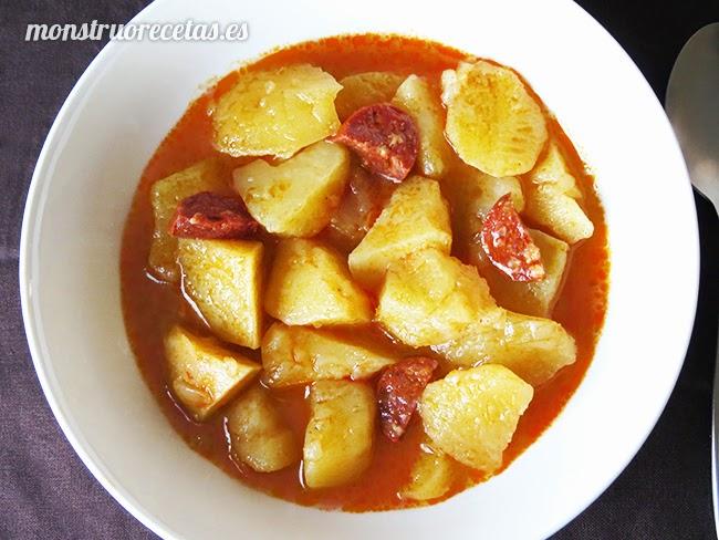 Patatas con chorizo a la riojana el monstruo de las recetas - Judias con chorizo y patatas ...