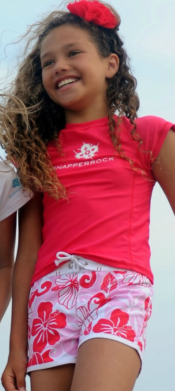 Rash Top and Boardies in Raspberry by Snapper Rock Kids Swimwear