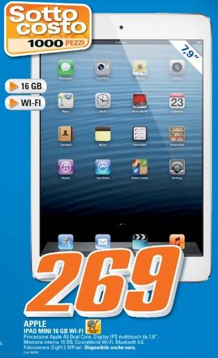 Da saturn torna un bel prezzo sottocosto di soli 269 euro sull'iPad Mini 16 GB wifi per metà giugno