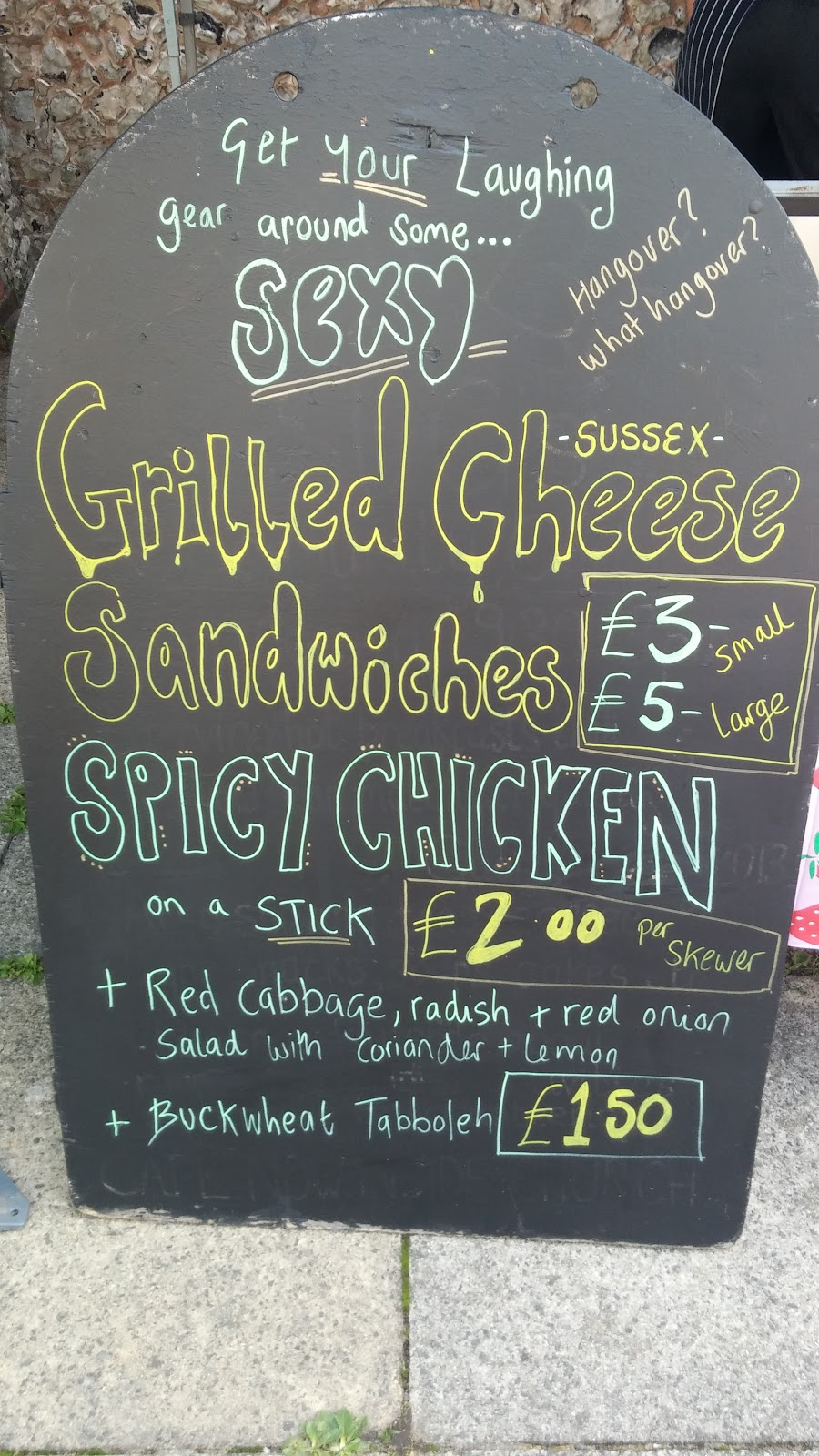 Street Food Stall Sign Featuring Grilled Cheese Sandwiches and Spicy Chicken