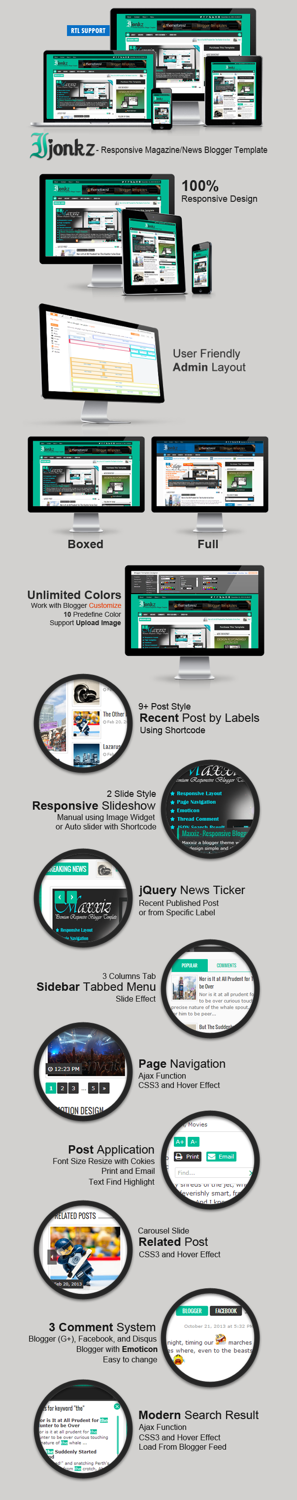 Ijonkz Responsive Magazine/News Blogger Template Features