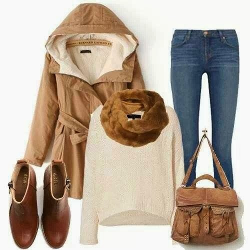 Adorable Outfit - Coat, Jeans, Sweater, Scarf, Handbag, Shoes