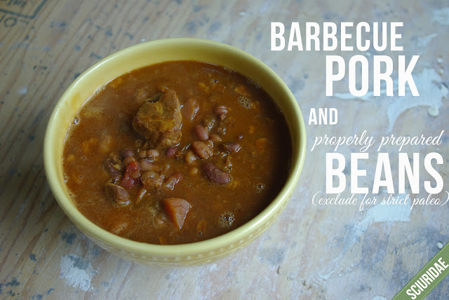 Barbecue pork and soaked beans in the slow cooker, exclude beans for strict paleo