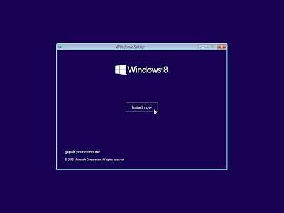 windows 8 install now