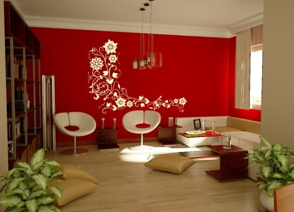 Decoracao De Sala Pequena Vermelha ~  de gesso, piso laminado e um super pendente triplo de teto