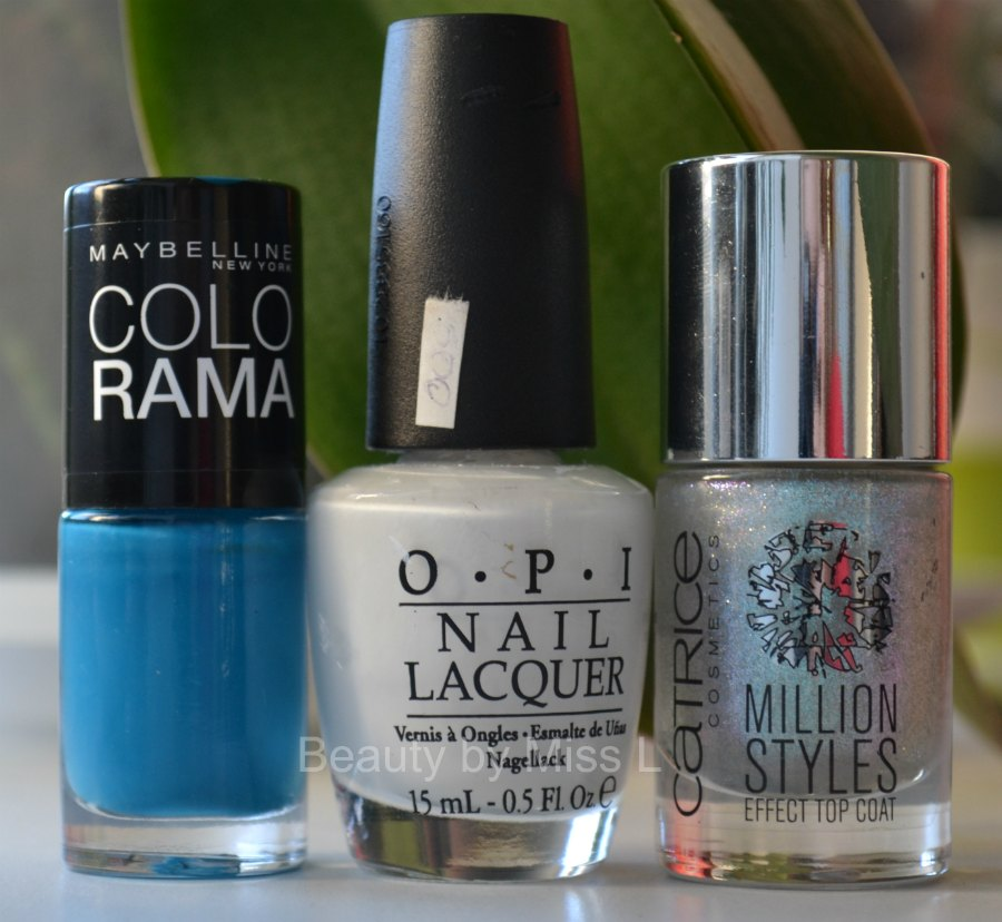 Maybelline Colorama 654, OPI Alpine Snow, Catrice Million Styles Effect Top Coat C06 Godfather of Pearl.