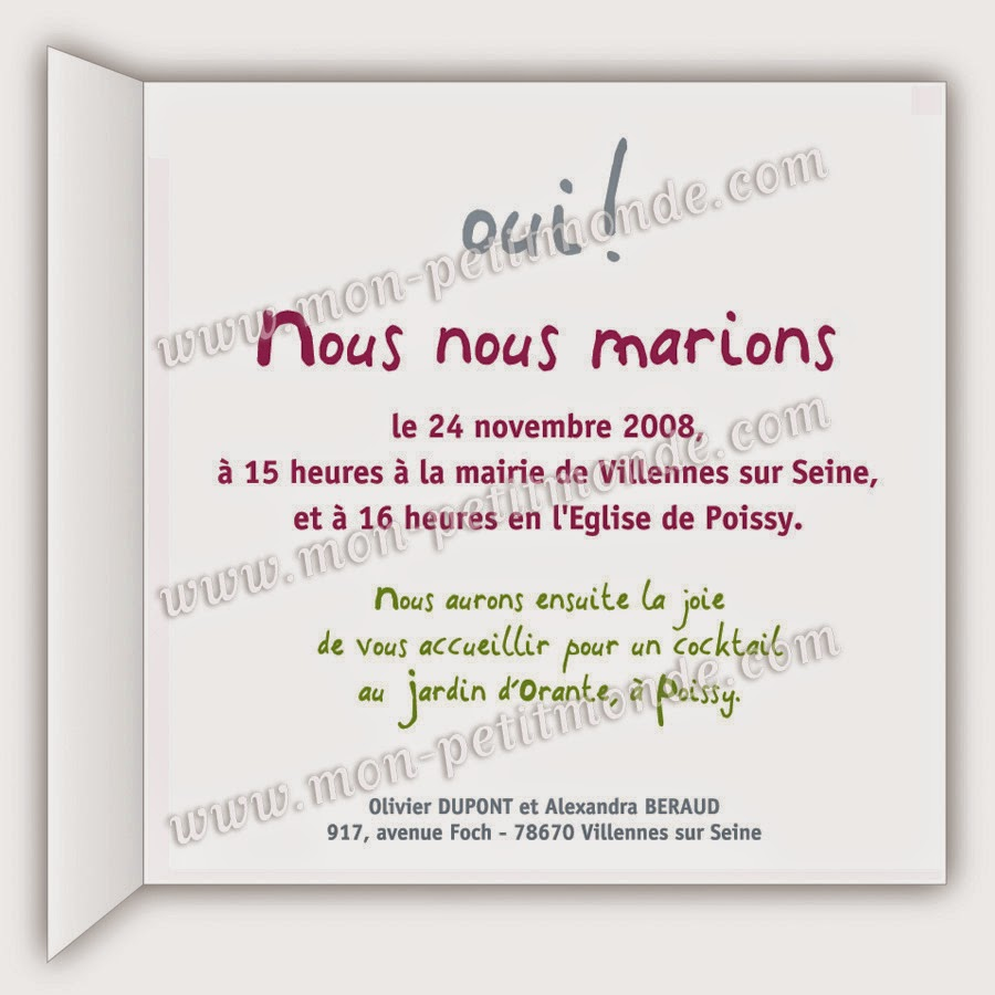 Texte faire part annonce marriage sans invitation envelopes