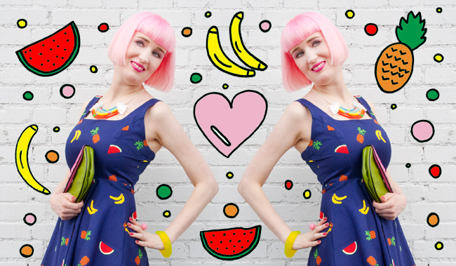 Fruits in fashion, fruit dress, carmen miranda