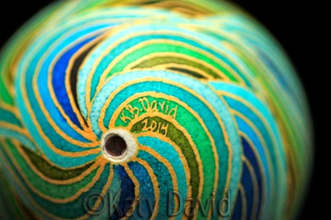 Modern Goose Egg Pysanky: Blue Hole Drift in blues and greens ©Katy David