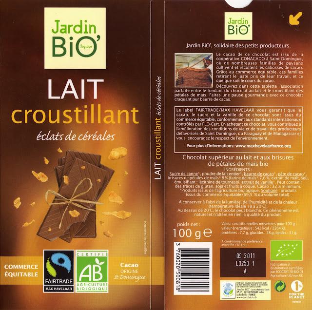 tablette de chocolat lait gourmand jardin bio lait croustillant eclats de céréales