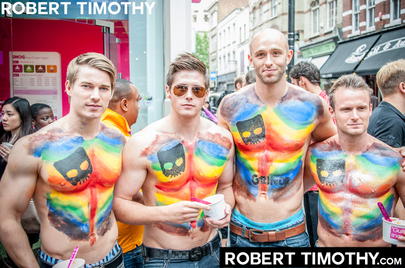 Models promoting the geosocial networking application Grindr in Central London