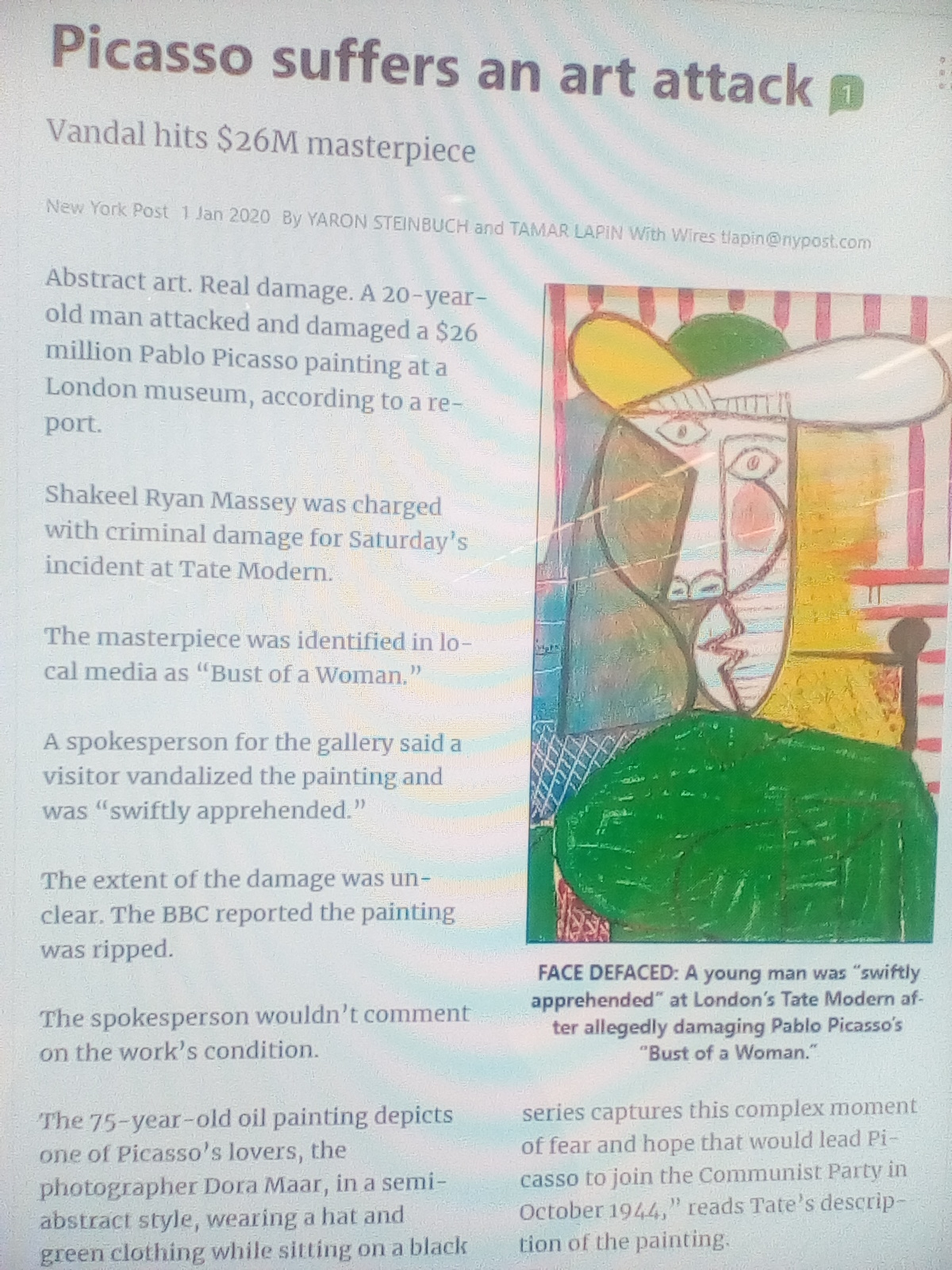 Tate modern 31/12 a bandalism against Picassos painting