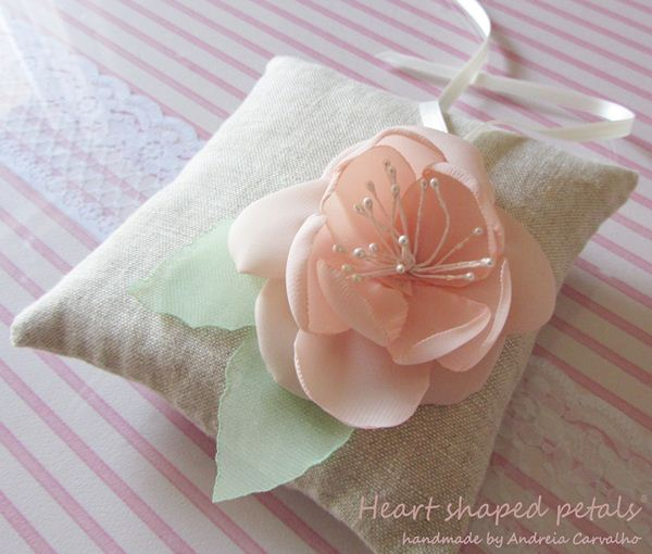 Ring bearer pillow with pink flower