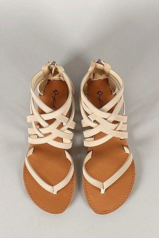 Strappy Gladiator Thong Flat Sandal