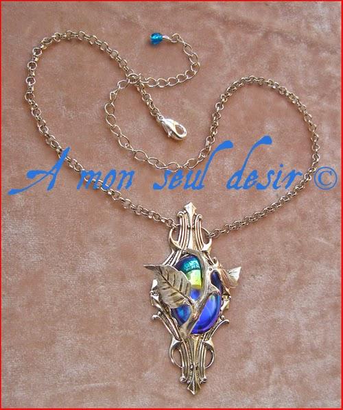 Collier elfique végétal floral bleu nuit Night Blue Elven Necklace Night Ocean
