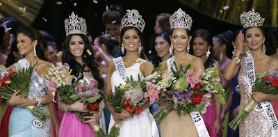 The winners of the 2013 Bb. Pilipinas beauty pageant (L-R): Bb. Pilipinas 1st Runner Up Pia Wurtzbach, Bb. Pilipinas-Tourism Joanna Cindy Miranda, Bb. Pilipinas-Universe Ariella Arida, Bb. Pilipinas-International Bea Rose Santiago, and 2013 Supranational Philippines Mutya Johanna Datul