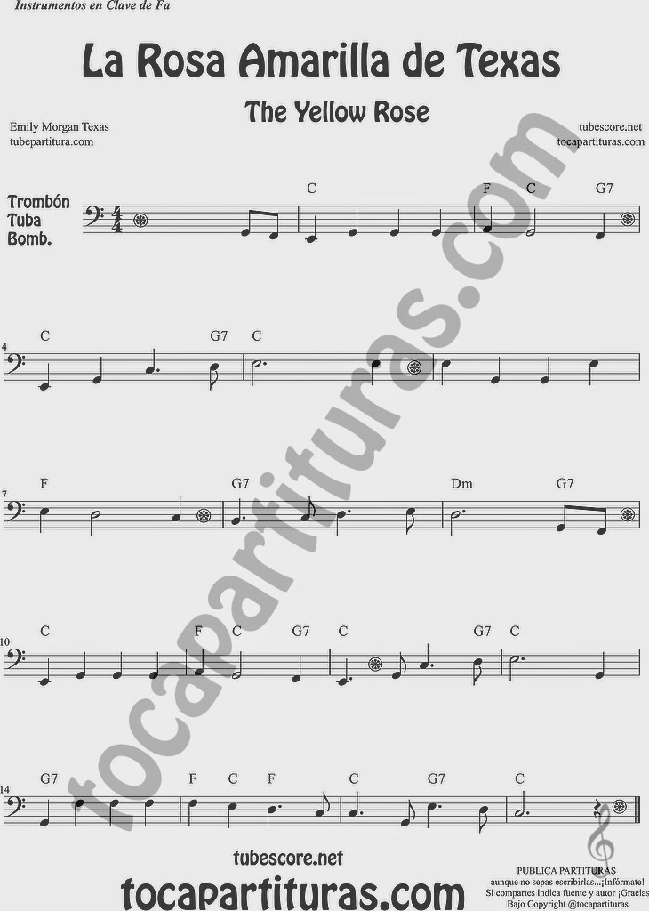 La Rosa Amarilla de Texas Partitura de Trombón, Tuba Elicón y Bombardino Sheet Music for Trombone, Tube, Euphonium Music Scores The Yellow Rose de Emily Morgan