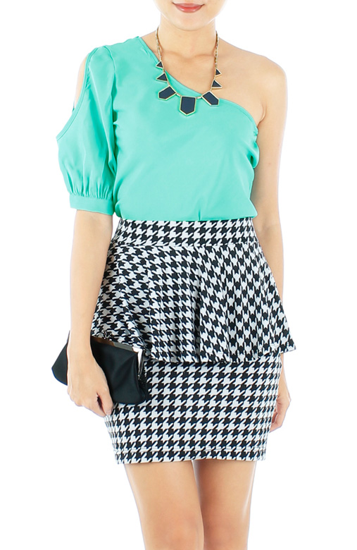 Tiffany Blue Peek-a-boo One Shoulder Top