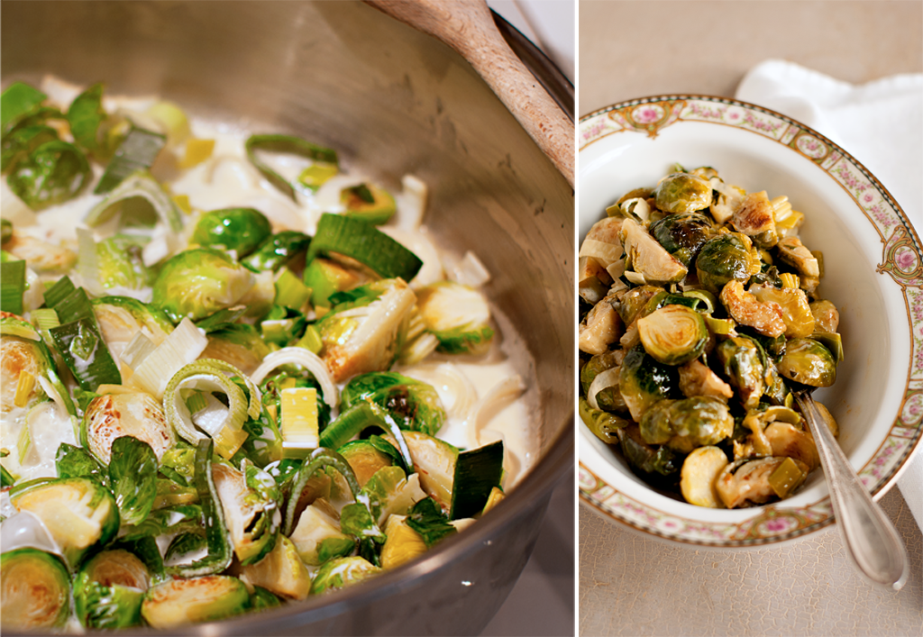 Brussels sprouts and leeks braising in cream