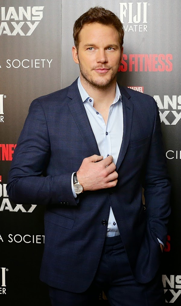 Chris Pratt with Montblanc Meisterstuck Heritage Perpetual Calendar watch - Guardians Of The Galaxy New York City premiere