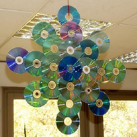 Decoraci n de navidad con cds reciclados Adornos reciclados para navidad