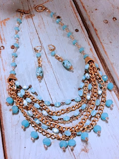Turquoise glass, chalcedony and gold multi strand necklace by The Pickled Hutch