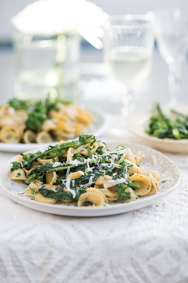 Spring pasta with sprouting broccoli and black garlic