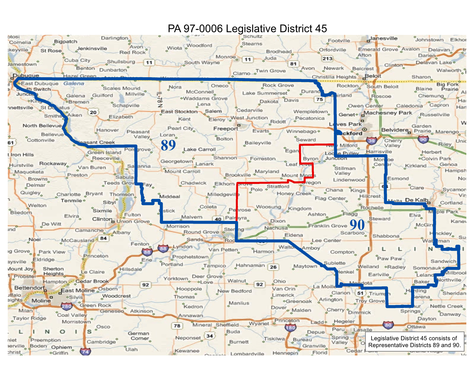 map of realigned illinois state senate district 45 and state representative districts 89 and 90