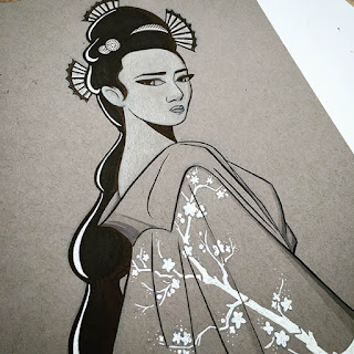 Black and white drawing of a geisha girl with long black hair and fans in her hair, dressed in a full gown with a white cherry blossom pattern