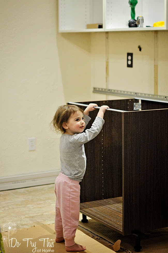 Installing Ikea Kitchen Cabinets: Toddler Style