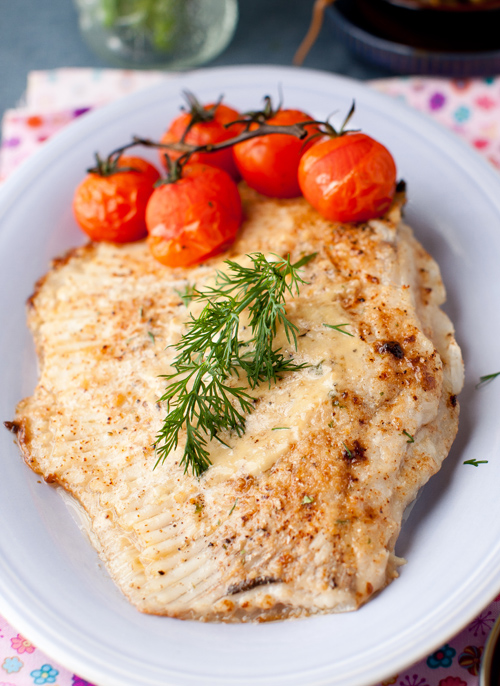 baked skate with lightly roasted tomatoes at cooking melangery